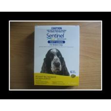 センティネルスペクトルチュアブル中型犬用6個入り(11-22kg)イエロー